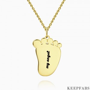 Engraved Baby Feet Necklace 14k Gold Plated Silver Z901554339521