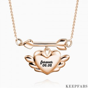 Engraved Cupid's Heart Necklace Rose Gold Plated Silver Z901554339607