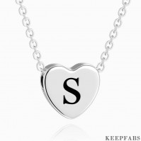 Engraved Heart Initial Necklace Platinum Plated Z901554339921