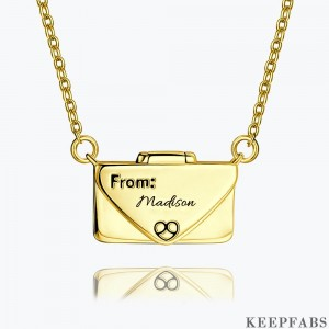 Engraved Bar Necklace 14k Gold Plated Z901554340303