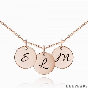 Initial Disc Engraved Necklace Rose Gold Plated Z901554340435