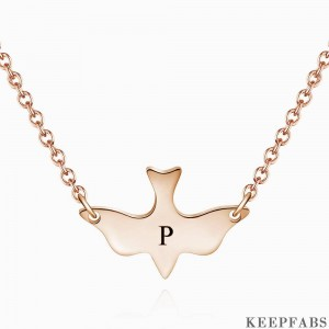 Initial Bird Engraved Necklace Rose Gold Plated Z901554340713