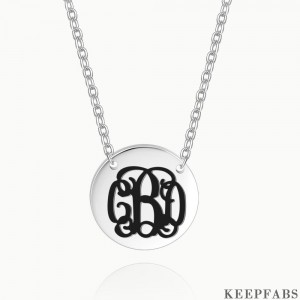 Engraved Monogram Necklace Silver Z901554340817