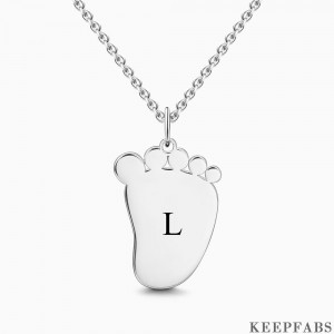Baby Foot Initial Necklace With Engraving Silver Z901554340949