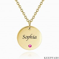 Coin Tag Personalized Birthstone Necklace With Engraving 14k Gold Plated Silver Z901554341719