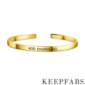 Engraved Bangle 14k Gold Plated