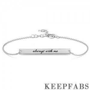 Custom Engraved Bar Bracelet, Bridesmaid Gift Platinum Plated - Silver