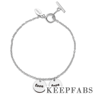 Engraved Two Coins Bracelet Silver - Length Adjustable