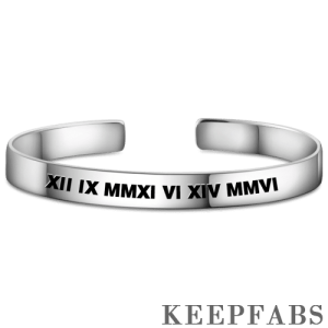 Engraved Roman Numeral Bangle Silver