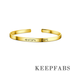 Engraved Coordinate Bangle 14k Gold Plated Silver