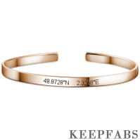 Engraved Coordinate Bangle Rose Gold Plated Silver