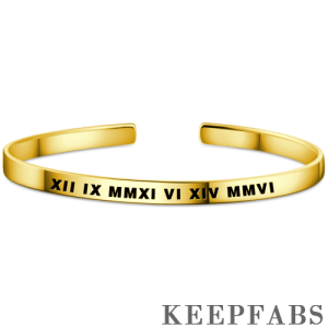 Engraved Roman Numeral Bangle 14k Gold Plated Silver