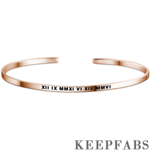 Engraved Roman Numeral Bangle Rose Gold Plated Silver