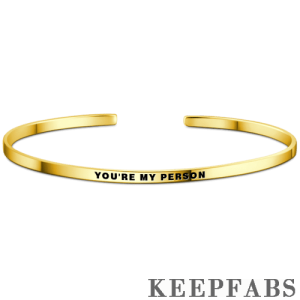 """You're My Person"" Bangle 14k Gold Plated Silver"
