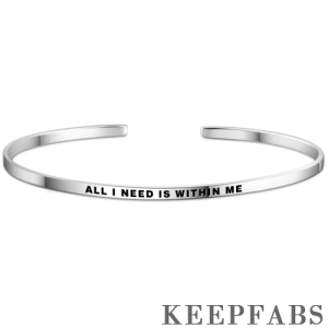 """""""All I Need Is Within Me"""" Bangle Silver"""
