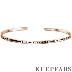 """""""And Though She Be But Little,She Is Fierce"""" Bangle Rose Gold Plated Silver"""