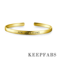 Engraved Bangle 14k Gold Plated Silver