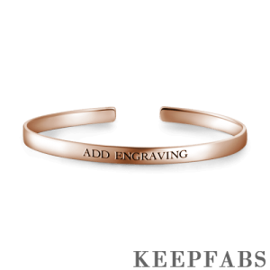 Engraved Bangle Rose Gold Plated Silver