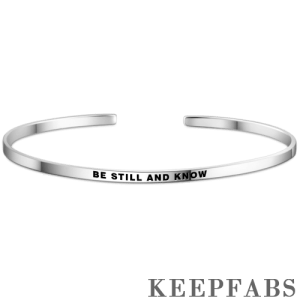 """""""Be Still And Know"""" Bangle Silver"""