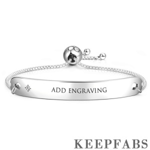 Engraved Wish Adjustable Bar Bracelet Silver