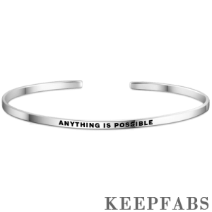 """Anything Is Possible"" Bangle Silver"