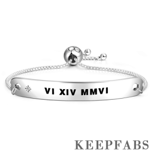 Engraved Roman Numeral Adjustable Bar Bracelet Silver