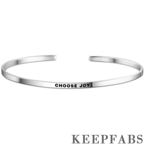 """Choose Joy"" Bangle Silver"