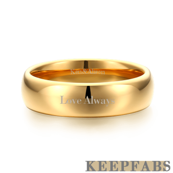 Engraved Men's Couple Rings Polished Golden Tungsten