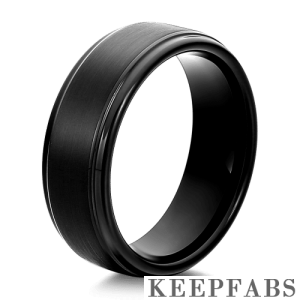 Engraved Men's Polished Black Tungsten Ring