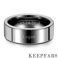Engraved Men's Polished Tungsten Ring