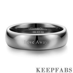 Engraved Couple Rings Polished Black Tungsten