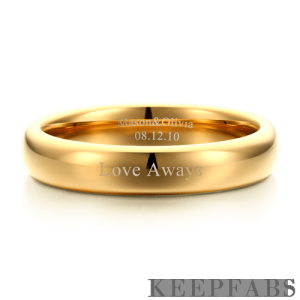 Engraved Couple Rings Polished Golden Tungsten