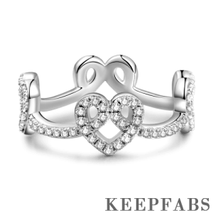 Captured Hearts Eternity Ring Silver