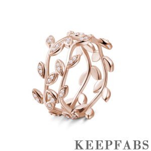 Double Vines Ring Rose Gold Plated Silver