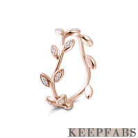 Single Vine Ring Rose Gold Plated Silver