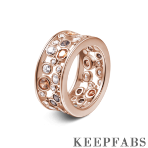 Halo Eternity Ring Rose Gold Plated Silver