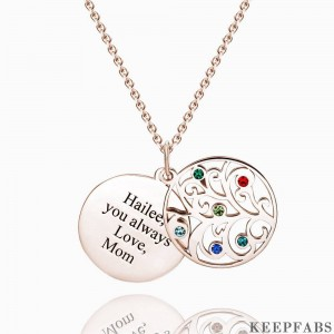 Filigree Family Tree Birthstone Necklace With Engraving