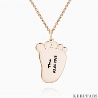 Engraved Baby Feet Necklace Rose Gold Plated Silver Z901553823645