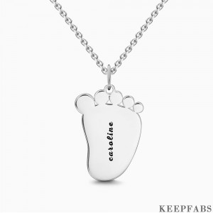 Engraved Baby Feet Necklace Silver Z901553824119