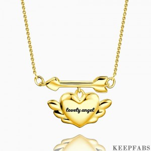 Engraved Cupid's Heart Necklace 14k Gold Plated Silver Z901553825079