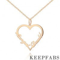 Personalized Heart Two Name Necklace Silver Rose Gold Plated - Rose Gold