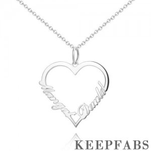 Personalized Heart Two Name Necklace Silver