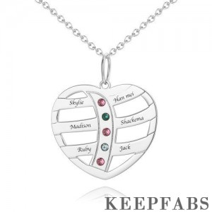 Heart Tree Engraved Necklace Silver with Custom Birthstone