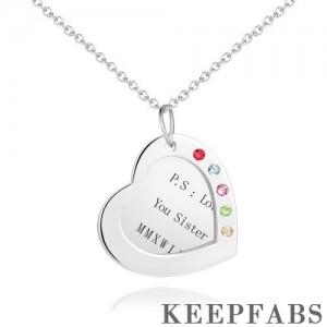 Heart Engraved Necklace Silver with Custom Birthstone