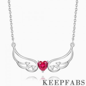 Wings of Love Personalized Birthstone Necklace Silver