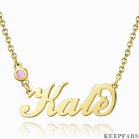 Personalized Birthstone Name Necklace 14k Gold Plated Silver