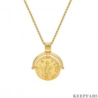 Roman Coin Pendant Necklace 18k Gold Plated Z901562566782