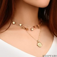 Layered Stars and Roman Coin Necklace Set Of 2