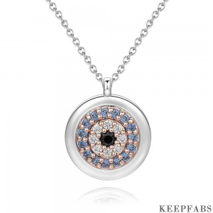 Devil's Eye Pendant Necklace in Platinum Plated Z901562568235