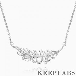 Feather Pendant Necklace Platinum Plated